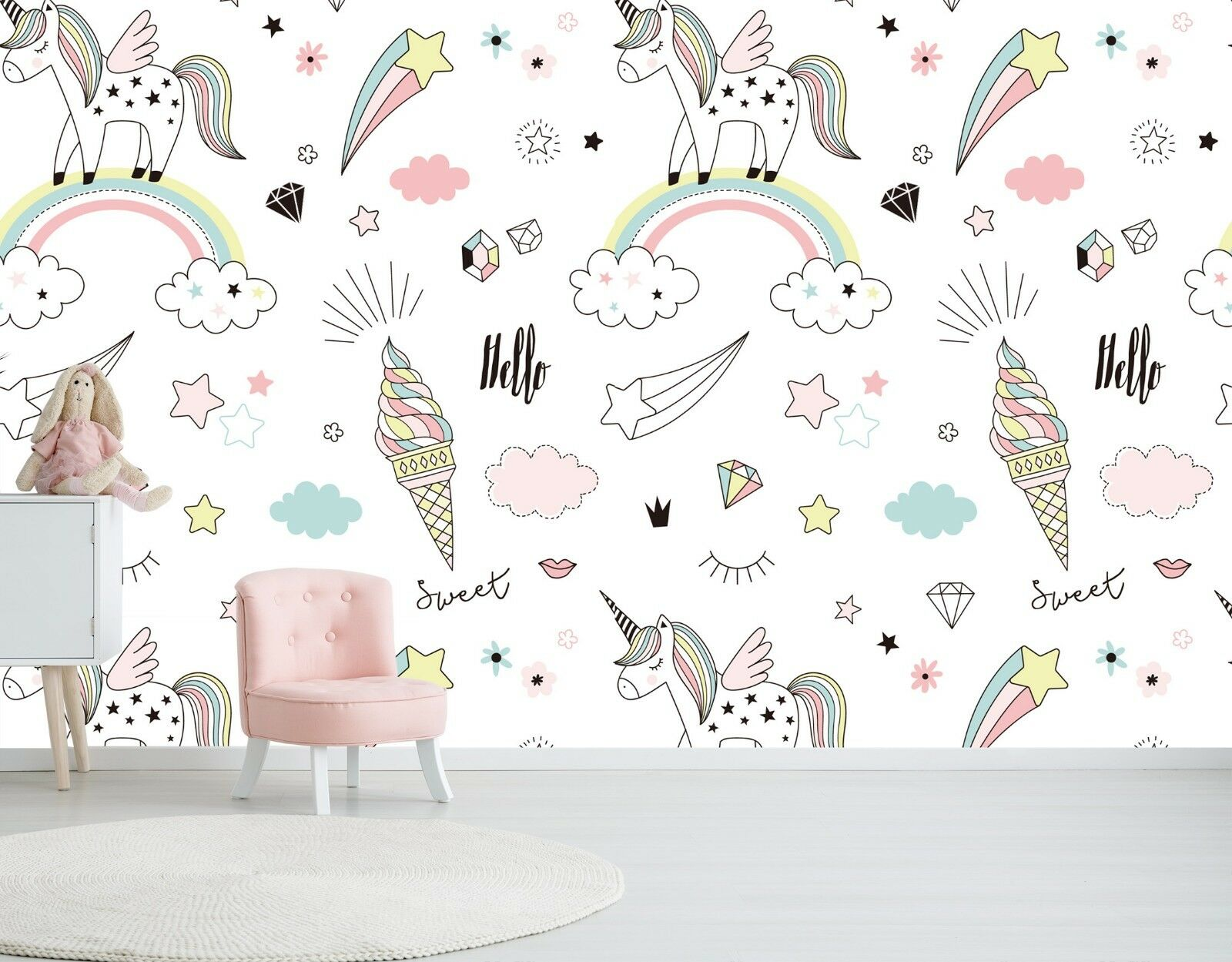 3D Ice Cream Unicorn 55 Wall Paper Wall Print Decal Wall Deco Indoor Wall Murals