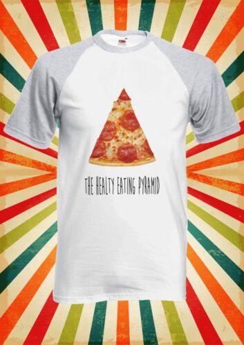 Healthy Eating Pyramid Pizza Men Women Long Short Sleeve Baseball T Shirt 1417