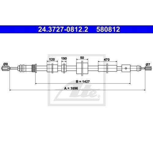 1 Seilzug Feststellbremse ATE 24.3727-0812.2 passend für PEUGEOT