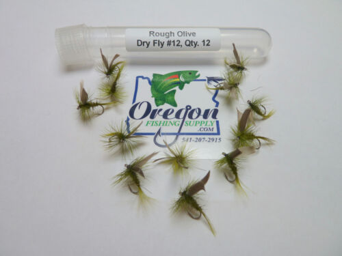 Rough Olive Dry Fly 1 Dozen FREE shipping All Additional items! size #12