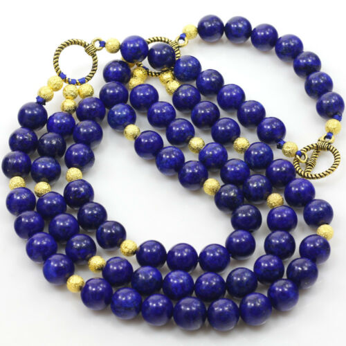 """3-Strands Natural Blue Lapis Round Beads Gold Toggle Huge Necklace 19/"""" FREE SHIP"""