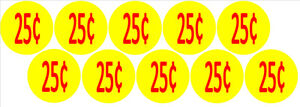 10-Price-Stickers-VENDING-MACHINE-CANDY-STICKERS-LABEL-25-Cent-Free-Shipping