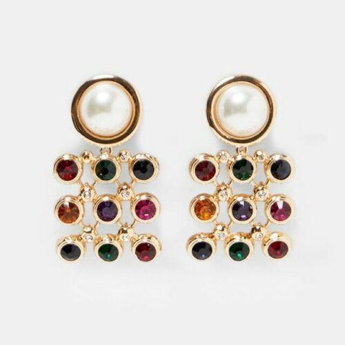 Dvacaman Fashion ZA Multi-Color Crystal Drop Earrings Women Gold Color Maxi