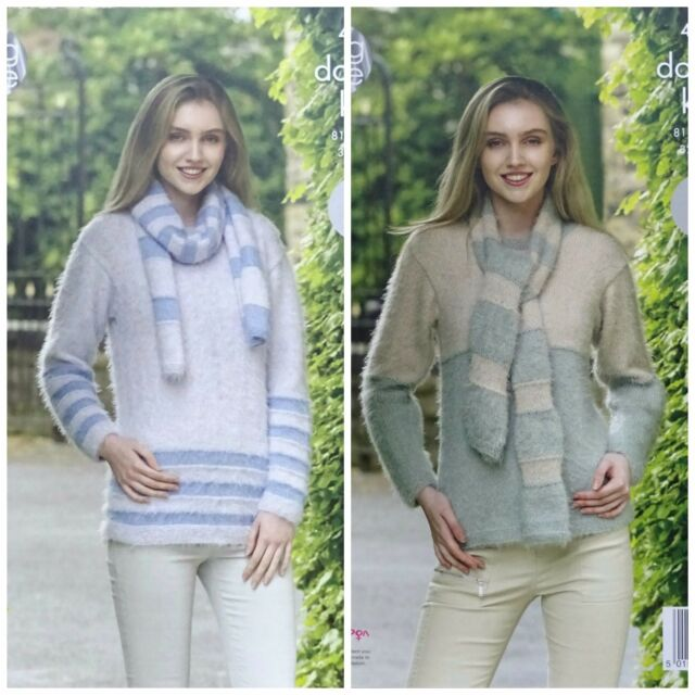 King Cole 4962 Knitting Pattern Womens Sweaters And Scarves In