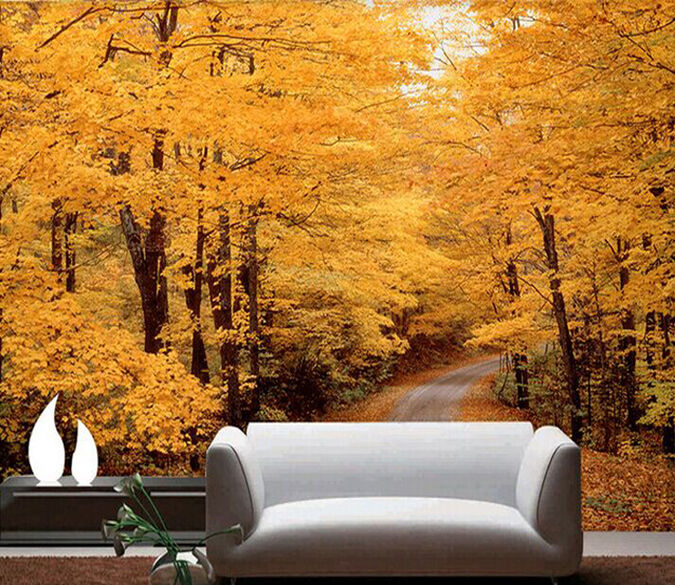 3D luxuriantly orange Forest Wall Paper Wall Print Decal Wall Deco AJ WALLPAPER