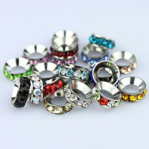 Czech-Crystal-Big-Hole-Spacer-Charm-Beads-Fit-European-Bracelet-Jewelry-DIY-Lot