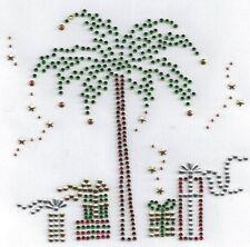Christmas Palm Tree Presents Gifts Rhinestone Hot Fix  Bling Iron On Transfer