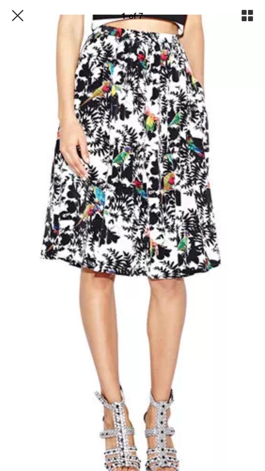 NICOLE MILLER ARTELIER  295 with birds pleated silk skirt Size 8