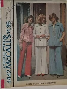 Jacket-Pants-16-Bell-bottoms-Slacks-4442-McCalls-Sewing-Pattern-VTG-80-039-s-UC-FF