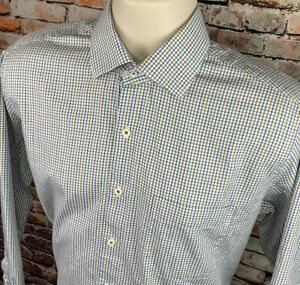 Peter-Millar-Mens-M-Button-Front-Shirt-Long-Sleeve-Pocket-Graph-Plaid-White-Blue