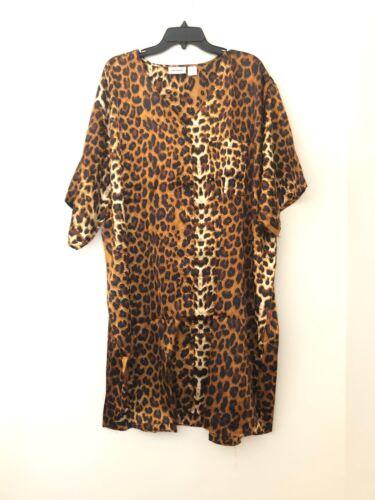 Cw Classics Women's Satin Nightshirt Gown Button Down  Leopar Printed 3X New