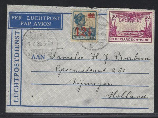 1932 Indes Néerlandaises Air Mail Cover – Salatiga En Hollande