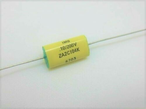 6pcs  .1uF 104 @ 200 VOLTS axial polyester film CAPACITOR    ref # 88