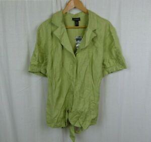 NWT-Lane-Bryant-Women-039-s-Linen-Blend-Short-Sleeve-Button-Front-Shirt-Size-26-28
