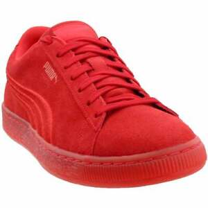 Puma-Suede-Classic-Badge-Iced-Lace-Up-Mens-Sneakers-Shoes-Casual-Red