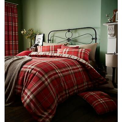 Catherine Lansfield Kelso Tartan Check Duvet/Bedding Quilt Covers Cotton Rich