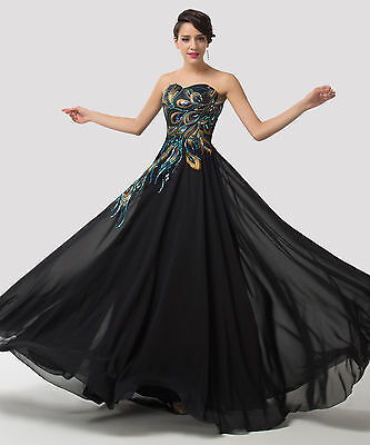 PLUS SIZE PEACOCK Long Formal Evening Party Bridesmaid Wedding Prom Dresses 2-16