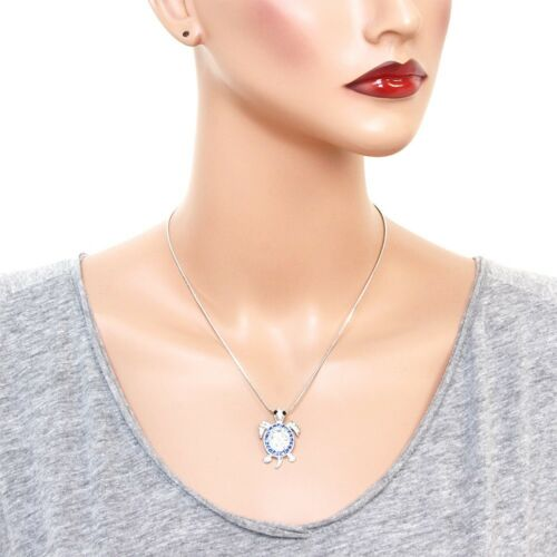 """17/"""" Chain Sea Turtle Charm Pendant Necklace Sparkling Crystal 4 Colors"""