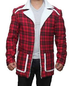 Details zu Deadpool Wade Wilson Ryan Reynolds Rot Shearling Herren Fashion Mantel Jacke