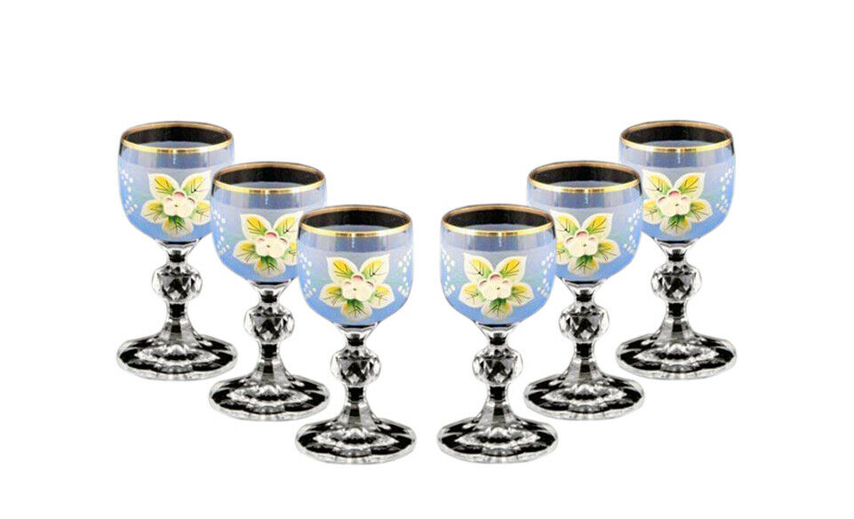 Bohemian Crystal Couleuruge Glasses, 6-pc Antique bleu Enamel Shot Vodka Tumblers