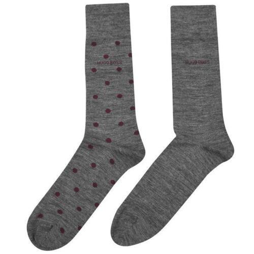 Boss 2PK Dot et Plain Finest Laine Mérinos Sock Taille UK 8.5-11 de 43-46 US 10-13