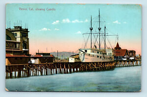 Venice, CA   CABRILLO SHIP EARLY 1900s VIEW   GEORGE RESTALL POSTCARD