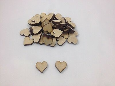 "50 x MDF ""HEARTS"" - Approx 20mm x 20mm - Embellishments - Shapes -  Blanks"