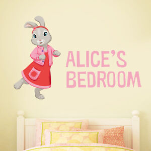Details About Official Peter Rabbit Lily Bobtail Personalised Bedroom Wall Sticker Mural