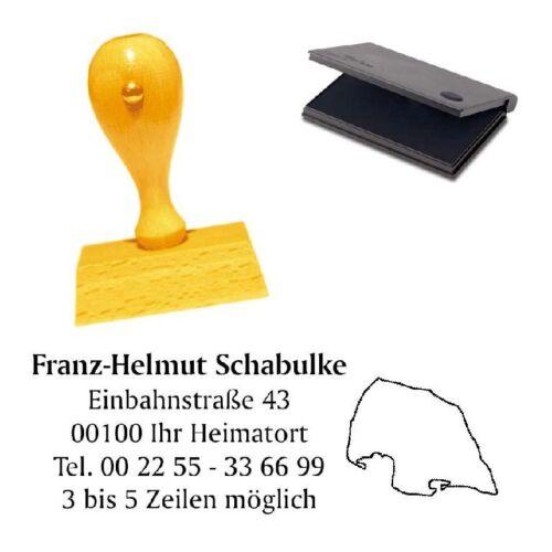 Firmenstempel Adressenstempel « FEHMARN » mit Kissen Ostsee Camping