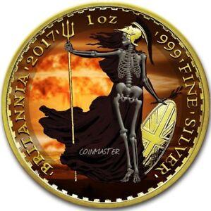 2017-1-Oz-Silver-2-ARMAGEDDON-NUKE-SKELETAL-BRITANNIA-Coin-24K-Gold-Gilded