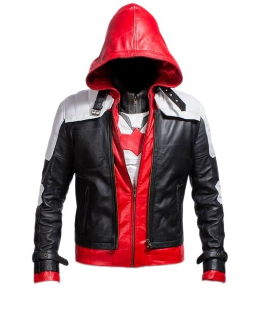 Red hood batman arkham knight 100% real leather jacket