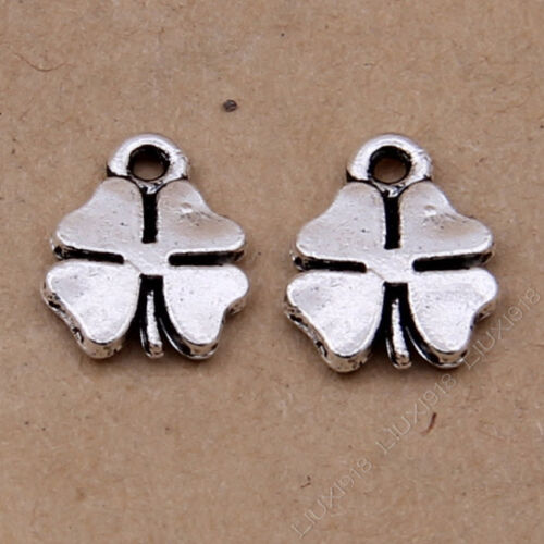 30x Charms Lucky Clover Pendant Beads Jewellery Crafts Tibetan Silver //S357