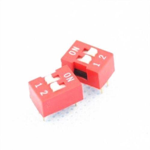 50Pcs Red 2-Bit 2 Positions Ways Slide Type 2.54MM Pitch Dip Switch J10 New I gp
