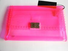 BCBG MAXAZRIA PURSE HANDBAG CLUTCH PINK BEGONIA CLEAR SCALLOP PLASTIC BAG