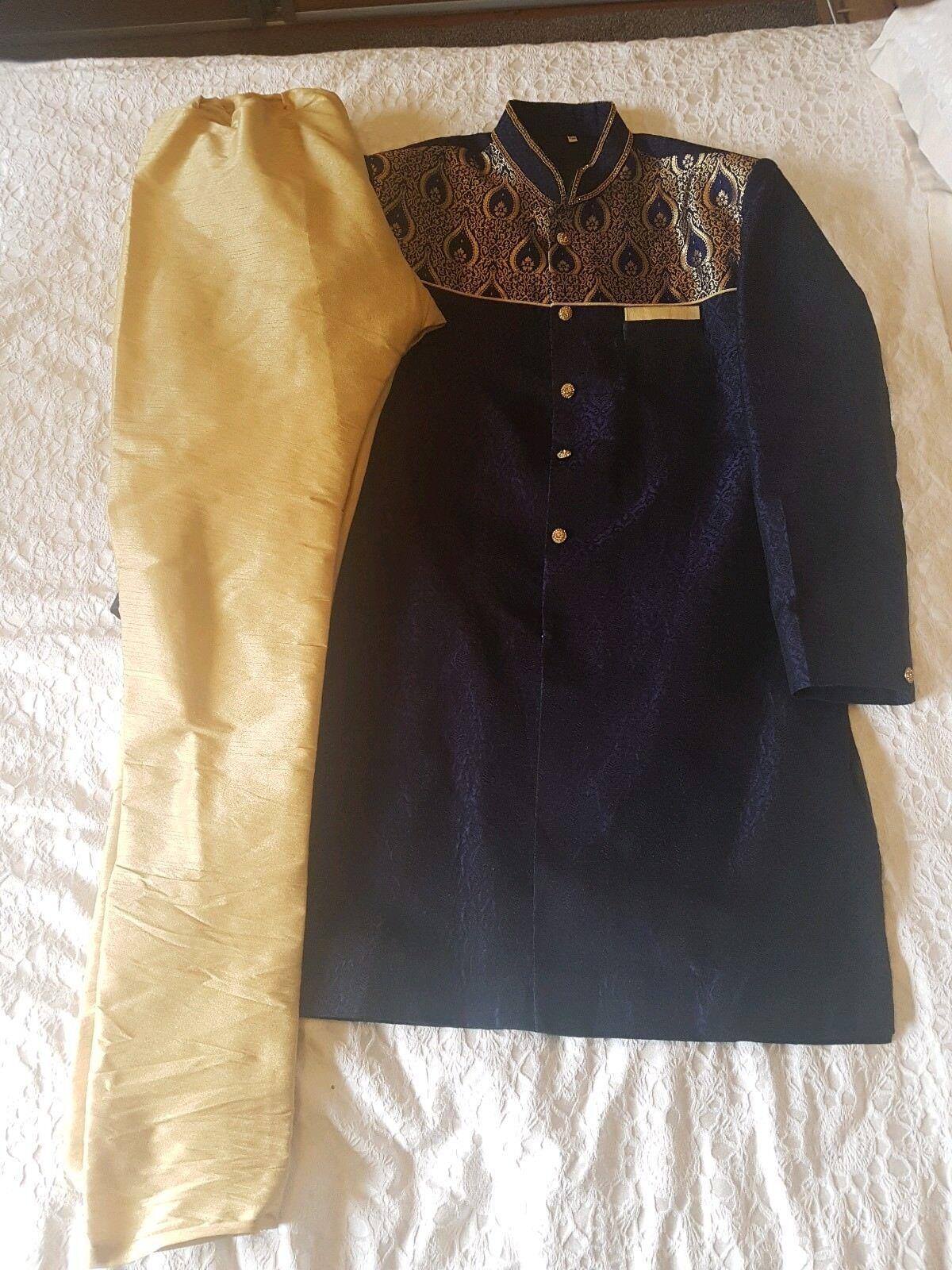 X2 mens designer churidar shervani  sherwani navy and gold