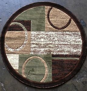 Image Is Loading Modern Round Area Rug Brown With Green Design