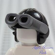 NEW Lego Minifig Black Aviator PILOT HAT - Helmet Cap w/Gray Goggles Head Gear