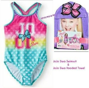 ab35ee74dd3aa JoJo Siwa Big Girls  One Piece Swimsuit + JoJo Siwa Hooded Beach ...
