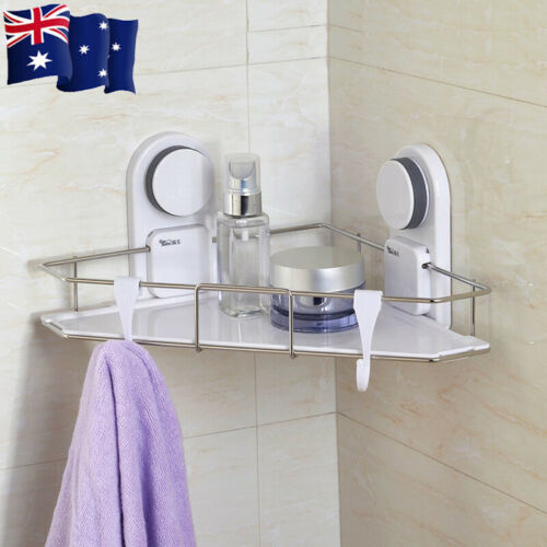 New Corner Shelf Basket Storage Organizer Super Vacuum Suction Cup Dual install