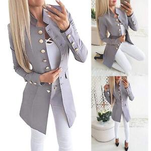 Damen-Blazer-Anzug-Sakko-Business-Cardigan-Tops-Mantel-Office-Langarm-Jacke-P-D