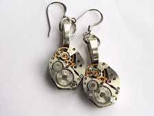Steampunk drop unisex  punk earrings watch movement dangles industrial jewellery