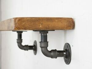 Industrial Steel Pipe Shelf Brackets Curved Style (Pair of Brackets)- Steampunk!