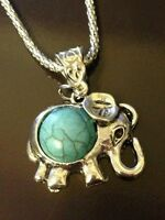 Royal Bali Turquoise Elephant Pendant With 20 In Popcorn Silver Chain