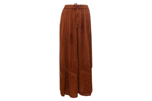 FREE SIZE BOHO SEMI LACE EMBROIDERED TONE TO TONE HIPPIE GYPSY SKIRT 10-22