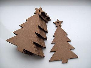 10 X Mdf En Bois Arbres De Noël, Artisanat, Décoration, Embellissement-afficher Le Titre D'origine