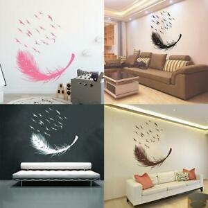 1x-Large-Feather-Wall-Art-Stickers-Birds-Vinyl-Decals-Living-Room-Bedroom-Decor