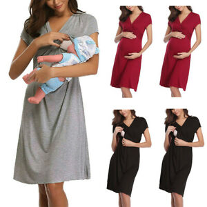 Maternity-Short-Sleeve-Nursing-Baby-Breastfeeding-Nightdress-Pregnancy-Dress-L