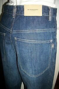 Pantalon-jeans-bleu-BURBERRY-CWF-14-ans-w28-coupe-ample-baggy-braguette-zip-H12
