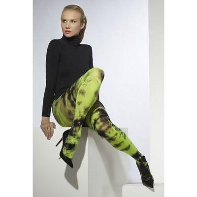 Fever Green + Black Tie Dye Tights Sexy Army Girl Punk Goth Ladies Fancy Dress
