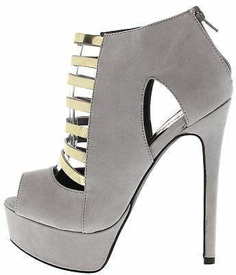 Sexy Ankle Boot Peep Toe Caged Booties High Heel Stiletto Platform Pump Size H64